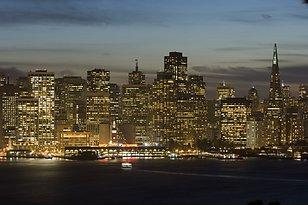 Financial district at night in San Francisco